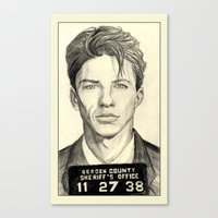 frank sinatra Canvas Prints featuring Frank Sinatra - Mugshot 1938 by Tim Clary