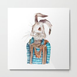 Hare hipster (male) Metal Print