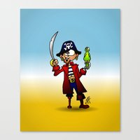 pirate Canvas Prints featuring Pirate by Cardvibes.com - Tekenaartje.nl
