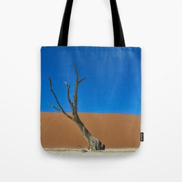 Lone desert tree on an Ancient River bed Tote Bag