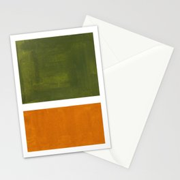 Olive Green Yellow Ochre Minimalist Abstract Colorful Midcentury Pop Art Rothko Color Field Stationery Cards