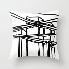 electric cords- urban view Throw Pillow