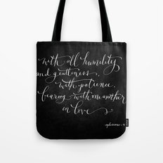 Bearing in Love // White on Black Tote Bag