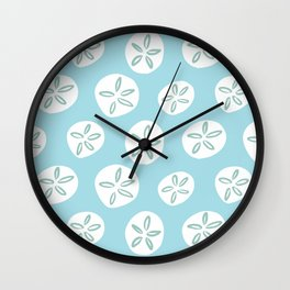 Sand Dollars Sea Urchin in Blue Wall Clock