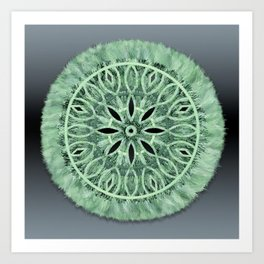 Mint Green 3D Faux Embroidery Art Print