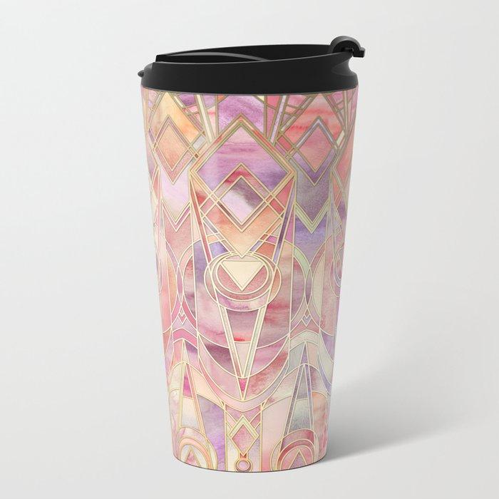 Glowing Coral and Amethyst Art Deco Pattern Metal Travel Mug