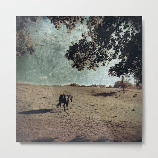 black horse departs Metal Print