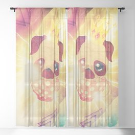 Kawaii pug flying in a cup lightings and starry texture Sheer Curtain