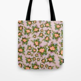Watercolor Flowers on Mauve Background Tote Bag