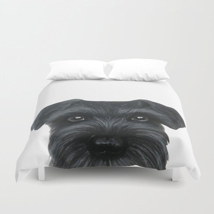 Black Schnauzer, Dog illustration original painting print Duvet Cover