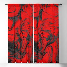 Black & Red Marble I Blackout Curtain