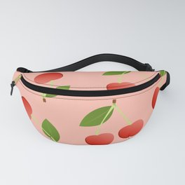 Cute cherries red background Fanny Pack
