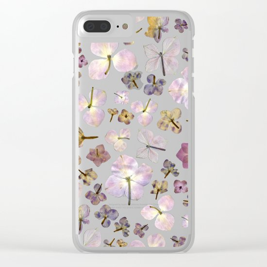 Scattered Hydrangea Clear iPhone Case
