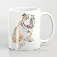 bulldog Mugs featuring bulldog  by Laura Graves