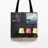 posters Tote Bags featuring Seats outside Heritage Posters by RMK Creative