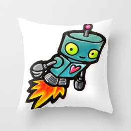 Robot - Love Rocket Throw Pillow