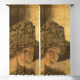 Golden victorian lady Blackout Curtain