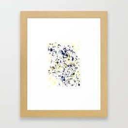 Blue Yellow paint splatter abstract print Framed Art Print