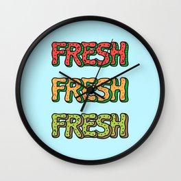 Fresh Watermelon, Cantaloupe Melon, Kiwi Wall Clock
