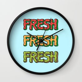 Fresh Watermelon, Cantaloupe Melon, Kiwi Wall Clock
