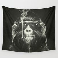 wall clock Wall Tapestries featuring Smoke 'Em If You Got 'Em by Dr. Lukas Brezak