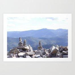 Rock Cairns Over the Mountain Art Print