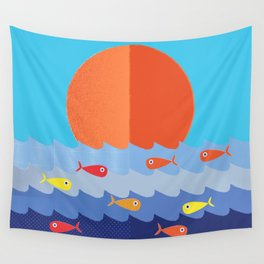 Fish fishing for friends Wall Tapestry