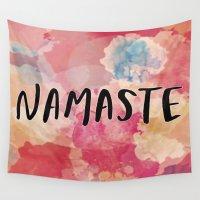 namaste Wall Tapestries featuring Namaste by Laura Santeler