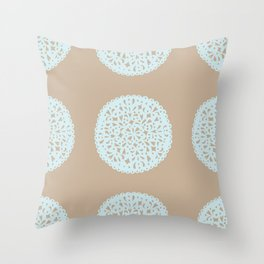 Doilies in Beige and Blue Throw Pillow
