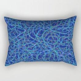 Blue scribbled lines pattern Rectangular Pillow