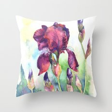 Watercolor iris flowers Throw Pillow