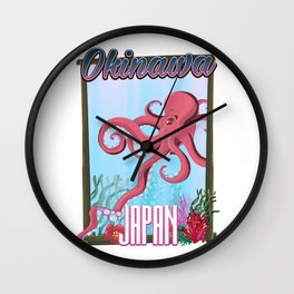 Okinawa Japan Squid travel poster Wall Clock