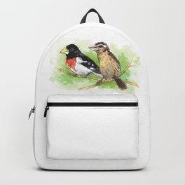 Watercolor Painting of a Pair of Rose-Breasted Grosbeak Backpack