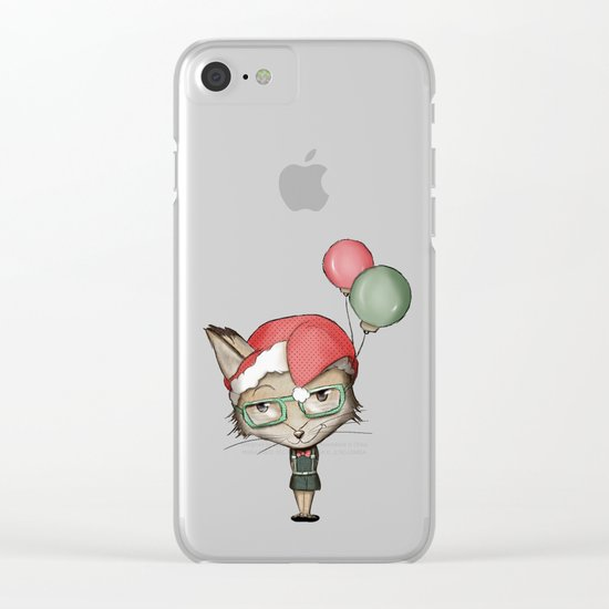 Christmas Fox Clear iPhone Case