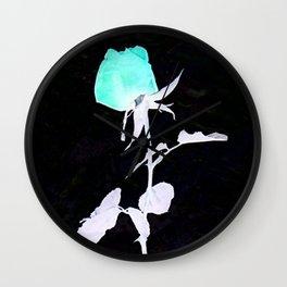 Single Rose aqua black and white Abstract design Wall Clock