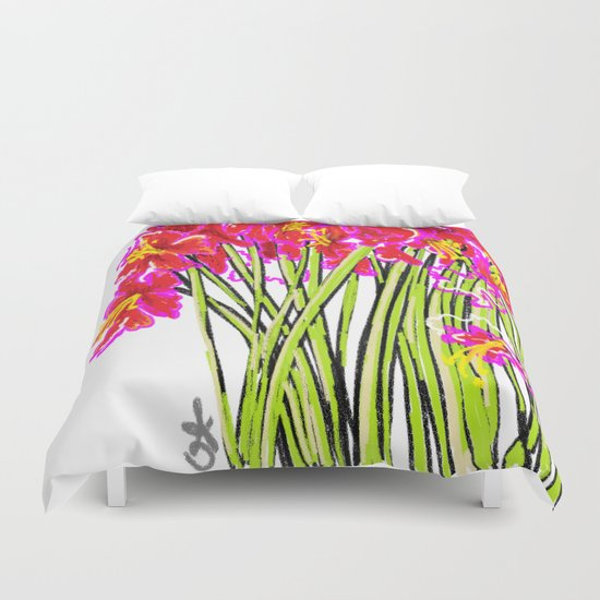 Red Flowers again, Hybiscus Duvet Cover