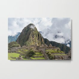 Machu Picchu on a cloudy day Metal Print
