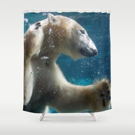 Magnificent Majestic Polar Bear Swimming Underwater Ultra HD Shower Curtain