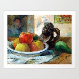 Paul Gauguin Still Life with Apples, a Pear, and a Ceramic Portrait Jug Art Print