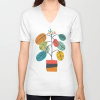 plant V-neck T-shirts featuring Potted plant 2 by Picomodi