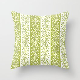 Mid Century Modern Berry Vine Stripes Chartreuse Throw Pillow