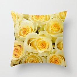 soft yellow roses close up Throw Pillow