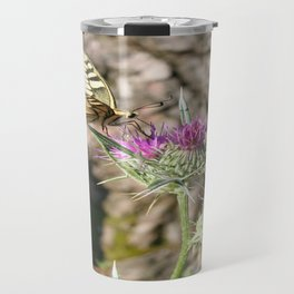 Scarce Swallowtail Butterfly and Thistle Travel Mug