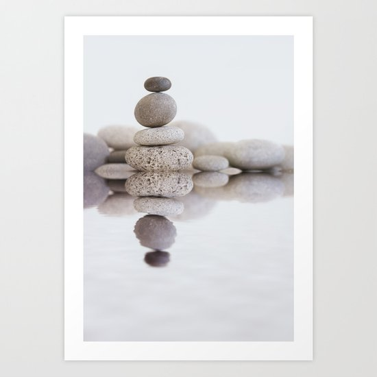 Stone Balance pebble cairn and water Art Print