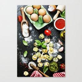 Homemade raw Italian tortellini Canvas Print