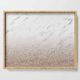 Glitter ombre - white marble & rose gold glitter Serving Tray