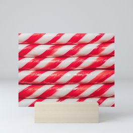 Red and White Candy Cane Christmas Candies Stripes Mini Art Print
