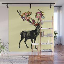 Spring Itself Deer Floral (Cream) Wall Mural