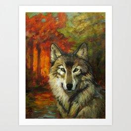 October Wolf Art Print