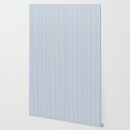 Delphinium Blue Pinstripe on White Wallpaper